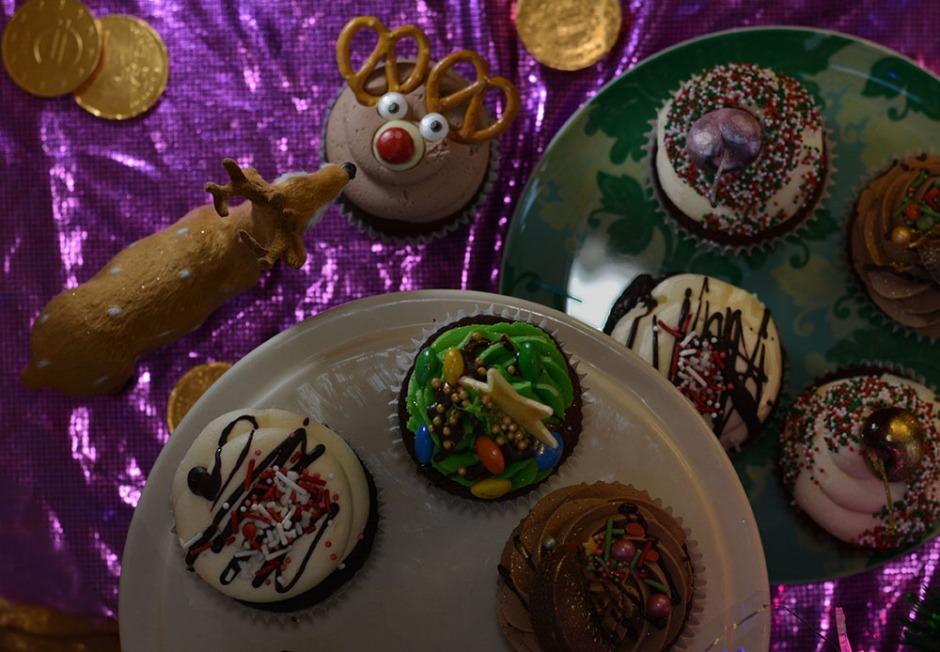 xmas postcard cupcakes